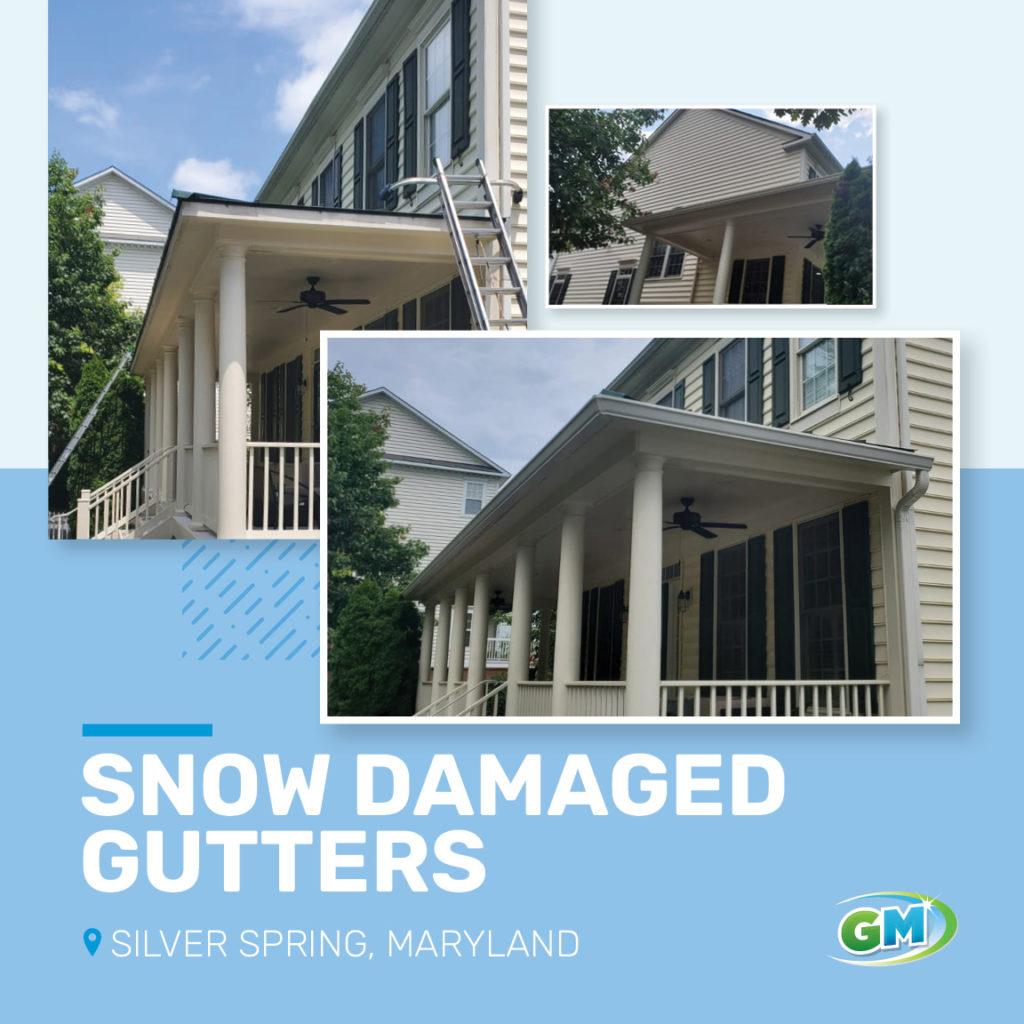 Snow Damaged Gutter Replacement | Gaithersburg, Maryland
